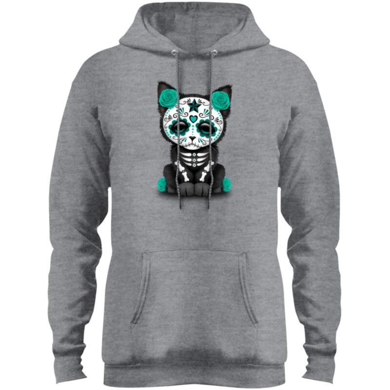 Cute Teal Blue Day Of The Dead Kitten Cat Hoodie